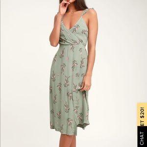 Lulu's Coleen Sage Green Floral Print Dress